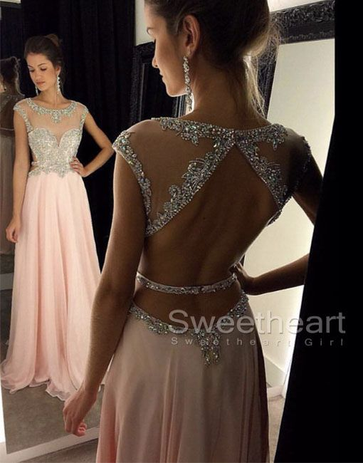 Pink Chiffon Sequin Long Prom Dress, Formal Dresses from Sweetheart Girl