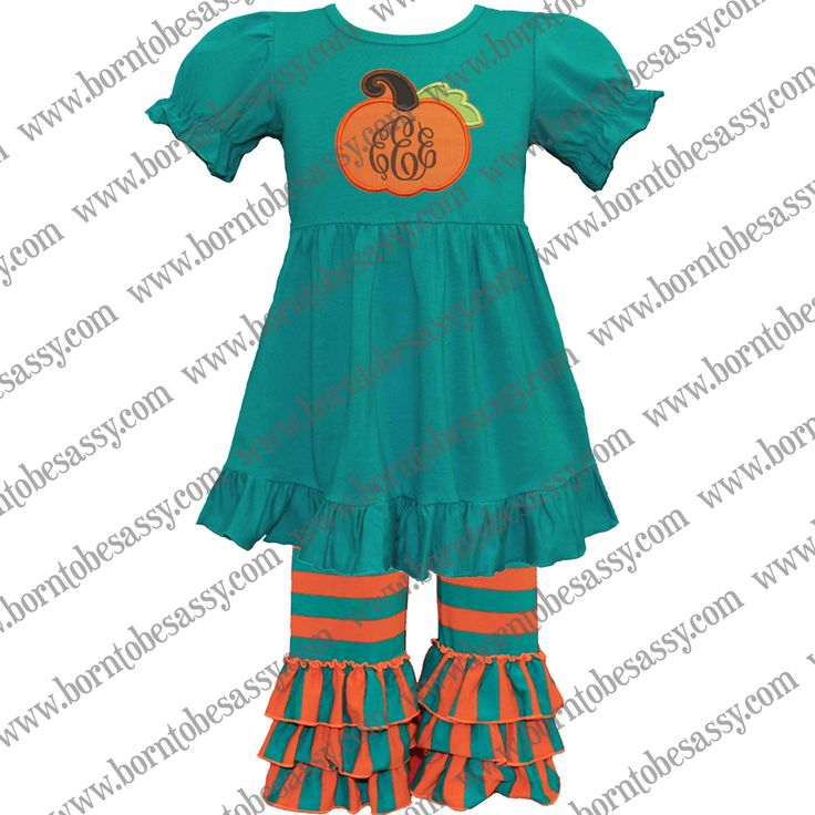 We are loving this applique pumpkin outfit!  It's perfect for all of your fall festivities and of course a trip to the pumpkin patch!  Super comfy yet holds up well!