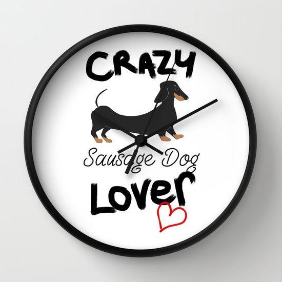 Crazy Sausage Dog Lover Wall Clock Products Wall Clocks