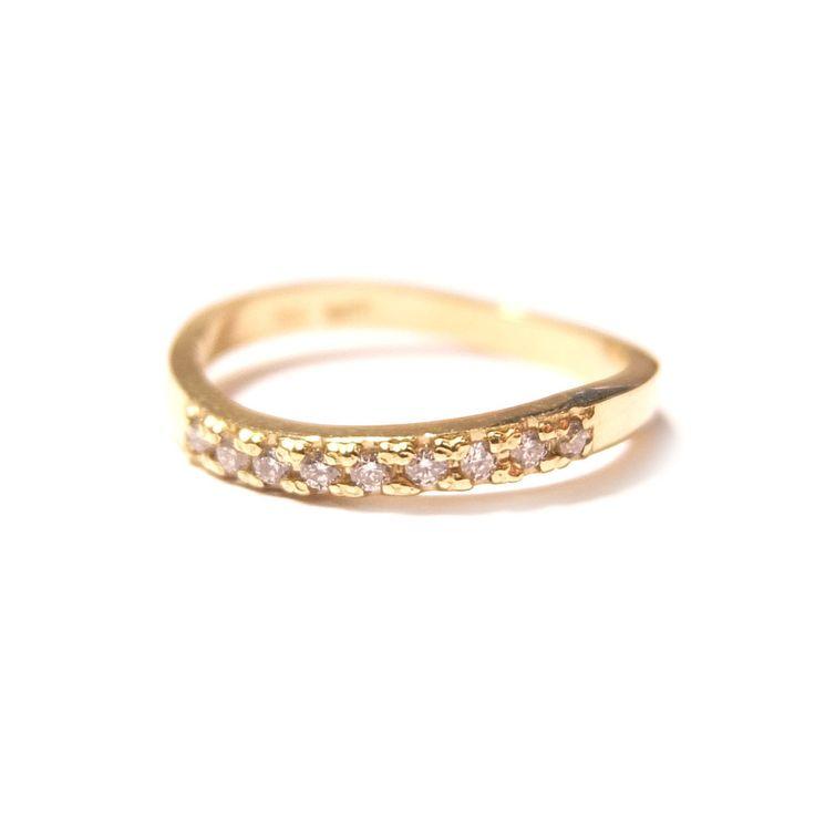 Diamond wedding band 18ct yellow gold set with 9 white diamonds. Ringcraft Moana
