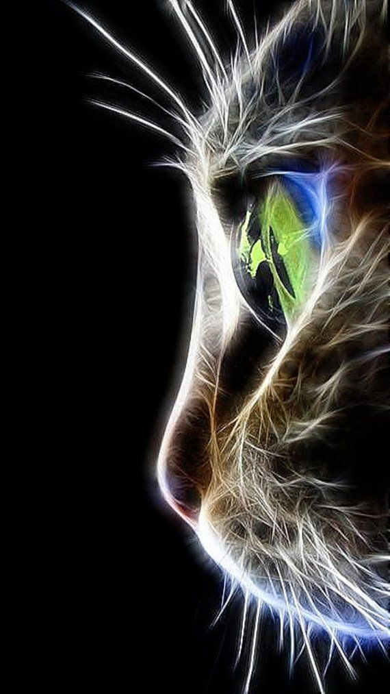 BUY 2 GET 1 FREE! Cat Fractal Neon 024 Modern Cross Stitch Pattern Counted Cross Stitch Chart Pdf Format Instant Download 126220