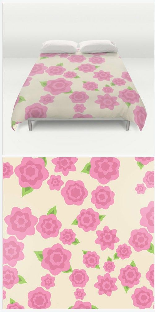 Pink Flower Bed Cover - Duvet Cover Only - Bed Spread - Original Art Flowers Pink - Full Size Bedding - Queen Size- King Size -Made to Order