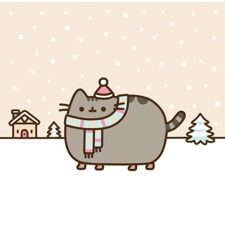 Pusheen in the snow all bundled up