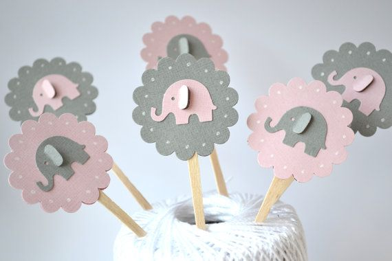 Pink and Grey Elephant Cupcake Toppers Qty 12--Baby Shower--Birthday Party on Etsy, $5.50
