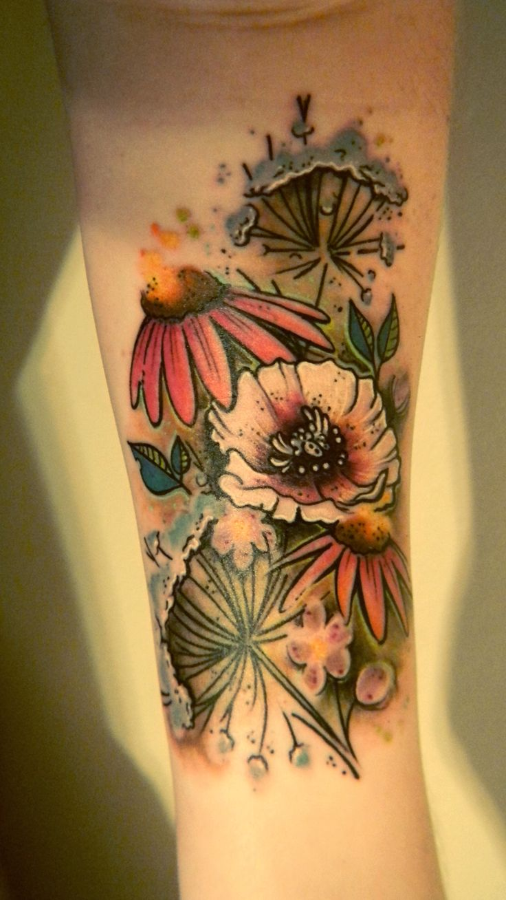 Wildflowers - my first tattoo! By Chipper Harbin, Safe House Tattoos in Nashville.
