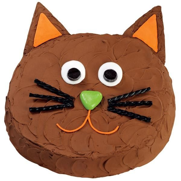 Quick as a Cat Cake - Funny feline is a fast cake to make! We've baked cookies for his  ears but you could substitute foil-wrapped cardboard triangles  if you are really pressed for time.