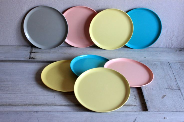 8 vintage melamine dinner plates in aqua and brown // 1950s 1960s melmac westinghouse newport by umbrellafant on Etsy | umbrellafant on etsy | Pinterest ... & 8 vintage melamine dinner plates in aqua and brown // 1950s 1960s ...