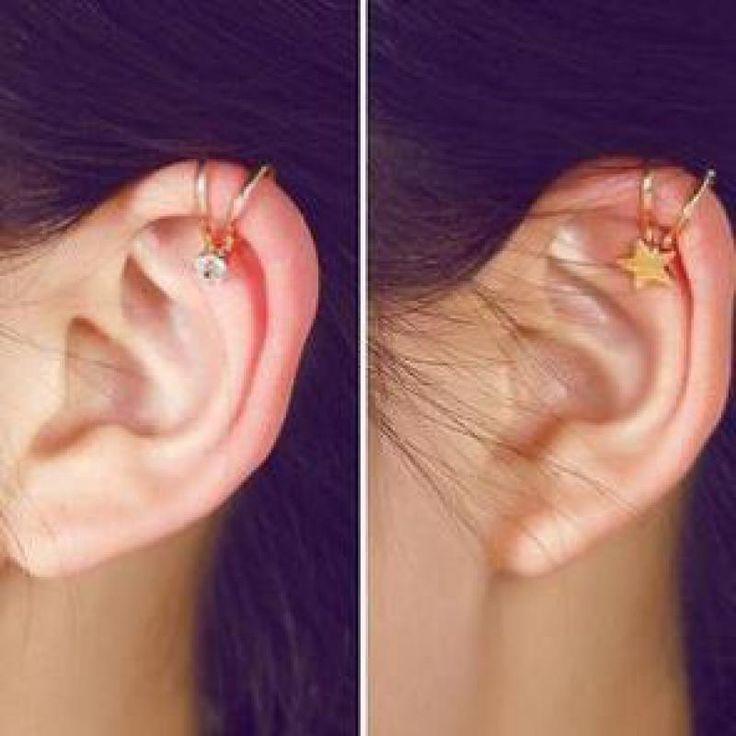 1 New Fashion Star Mond Herz Großes Mädchen Clip Ohrringe geschenk Frauen Ohne Ohrstecker Gefälschte Ohr Knochen Clip Fabrik großhandel