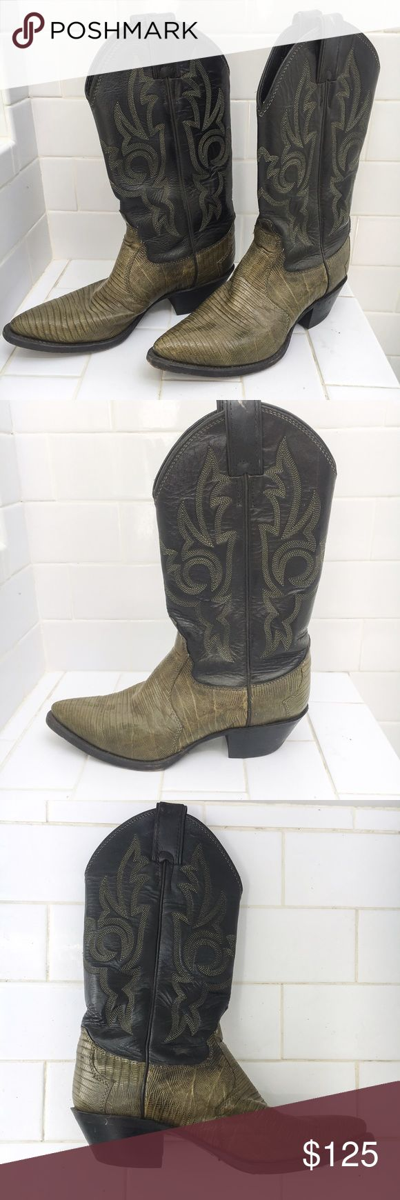 Vintage Olive Green Snakeskin Cowboy Boots Amazing vintage cowboy boots in near perfect condition.  Bottom section is olive green snakeskin and top is black leather with matching green stitch detail.  Very minor wear to the soles. Shoes Heeled Boots