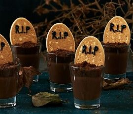 R.I.P Custard Pots: Capture the 'spirit' of Halloween with these delicious custard pots. Kids will love them and they'll certainly do a good job of petrifying grown-ups at the party too. Serve fresh from the fridge to make them even more 'chilling'. http://www.bakers-corner.com.au/recipes/desserts/r-i-p-custard-pots/