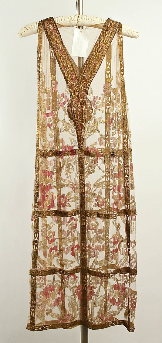 Dress, Evening. Callot Soeurs (French, active 1895–1937). Date: ca. 1924. Culture: French. Medium: cotton, metallic thread, glass. Dimensions: Length (from shoulder): 40 1/2 in. (102.9 cm).