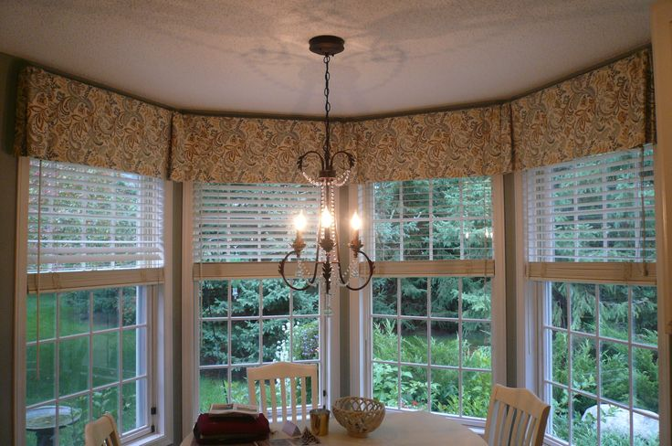 Bay Window Valance | box pleated valance to tie 4 windows together in a bay |