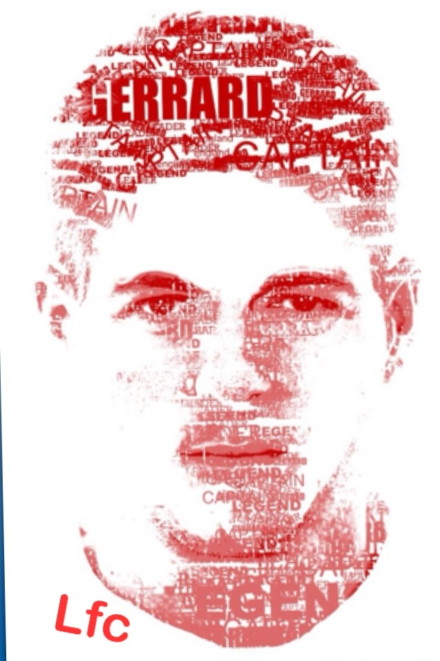 Liverpool fc - Gerrard portrait with words.
