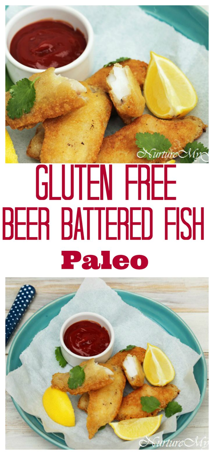 Gluten Free Beer Battered fish.  Made with blanched almond and tapioca flour.  Paleo friendly.  Crispy fish!