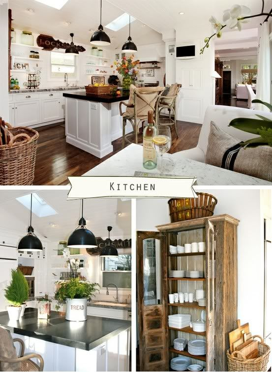 Love the elegant farmhouse look.  white cabinets, crossback chairs, baskets for storage, white back splace, black counter tops, industrial lighting above islandCOTTAGE   FARMHOUSE   ELEGANT   HOME DECORATING BLOG - l