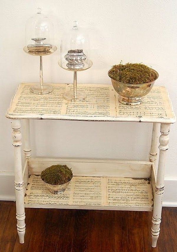 UPcycle old books, sheet music and maps to mod podge to Side Table