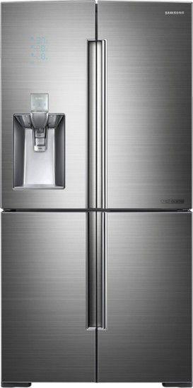 Samsung - Chef Collection 34.3 Cu. Ft. 4-Door Flex French Door Refrigerator with Thru-the-Door Ice and Water - Stainless Steel - Front Zoom