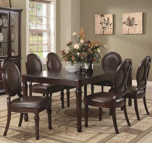 7pc Formal Dining Table And Oval Chairs Set In Brown Cherry Finish By  Coaster Home Furnishings