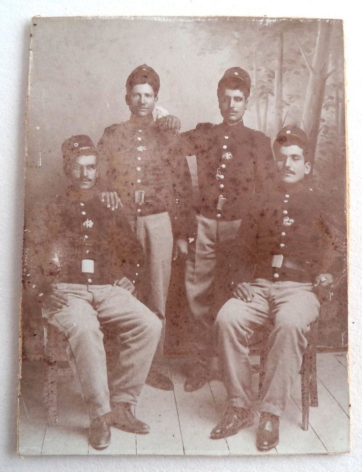 Greece Military Photo of 4 Greek Soldier Old Cabinet Card of 1905 141 x 104 Mm | eBay