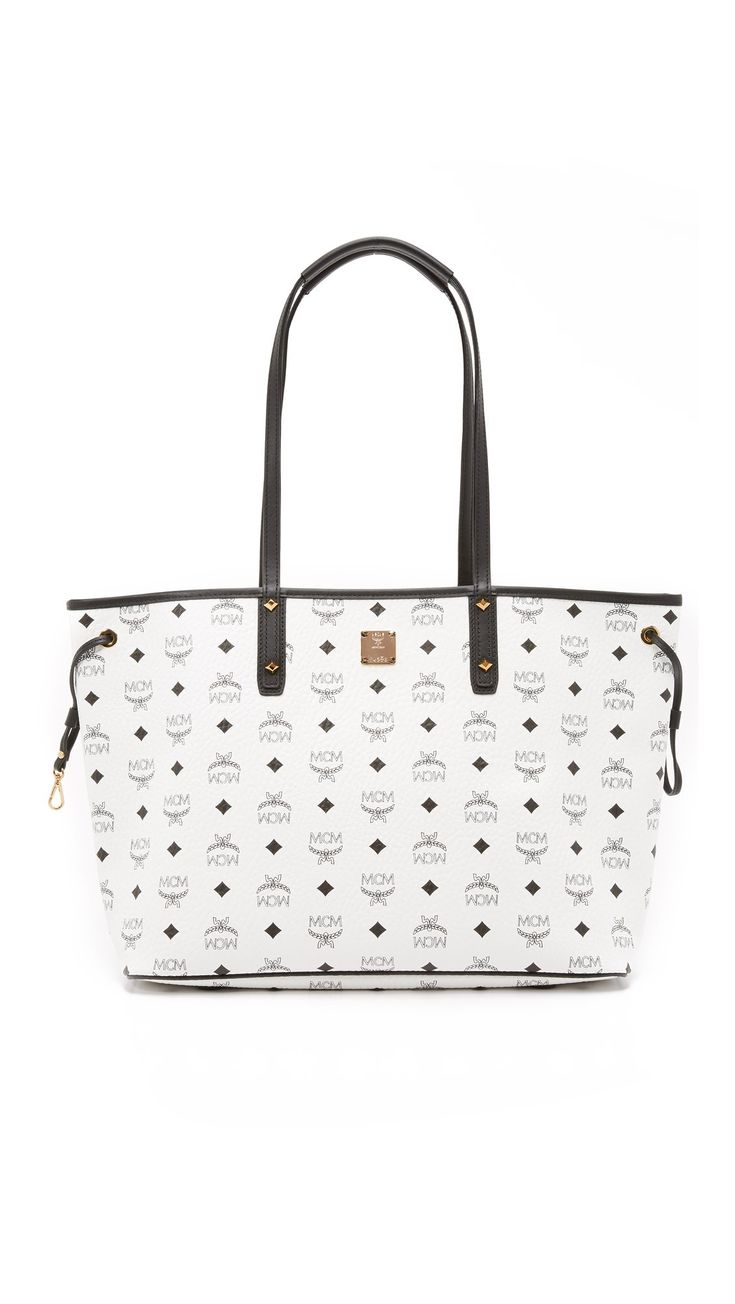 MCM Women's Shopper Tote, White, One Size. Coated canvas. Height 11.5in / 29cm. Width 14.25in / 36cm. Depth 6.25in / 16cm.