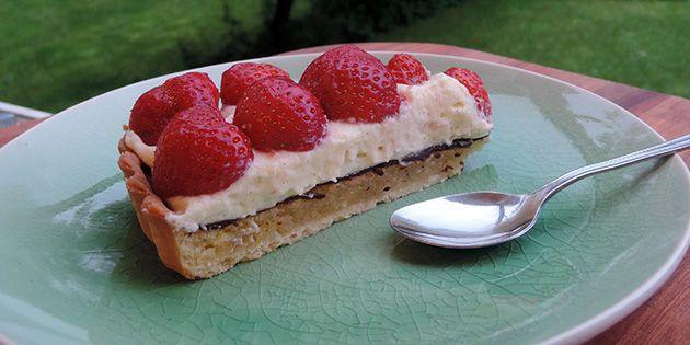 Jordbærtærte med hvid chokolade