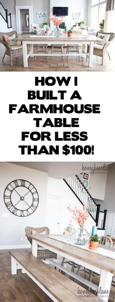 diy farmhouse table and bench. Interior Design Ideas. Home Design Ideas