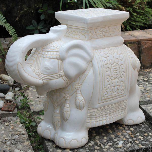 International Caravan Large Porcelain Elephant Stool By International Caravan Gardens Stools And Products