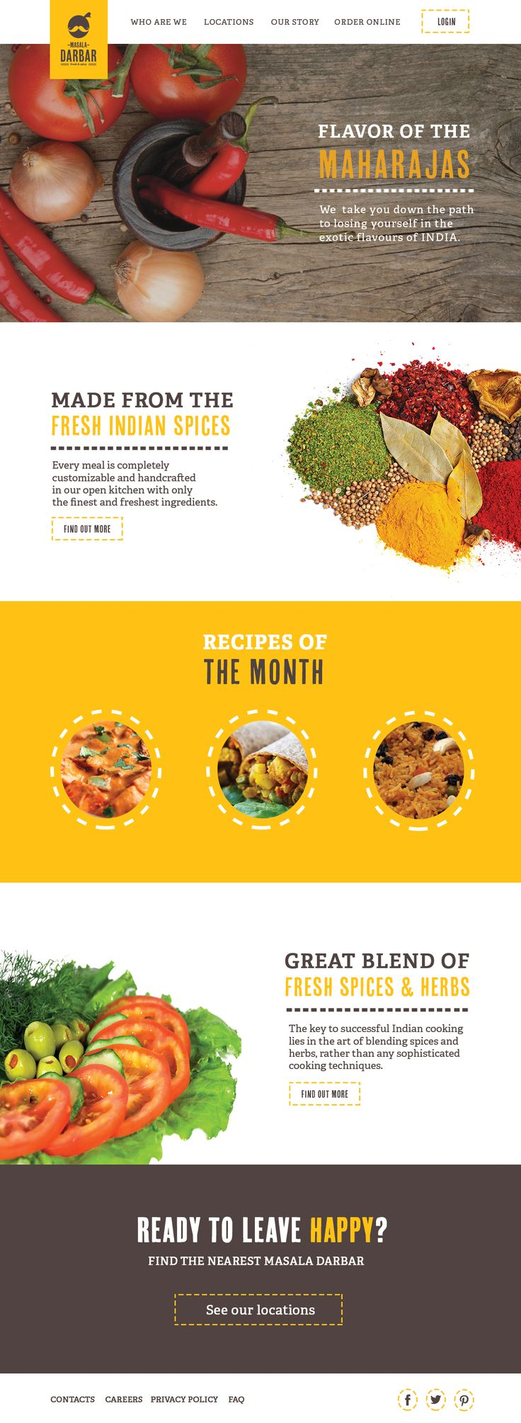 I like the large, bold use of imagery and contrasting color. Simple, clean layout. Masala-darbar