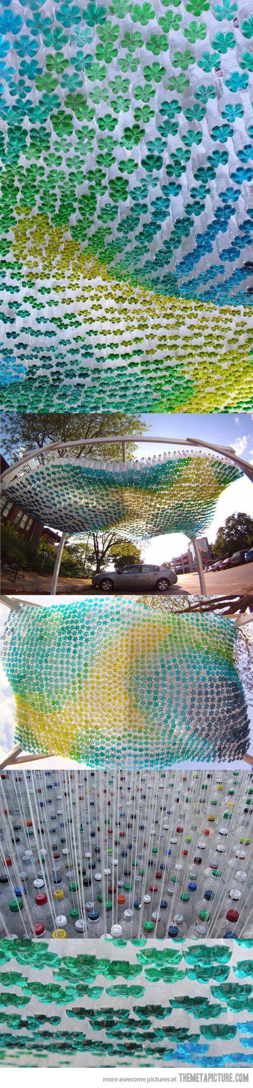 Cool sculpture using 1,581 soda bottles…