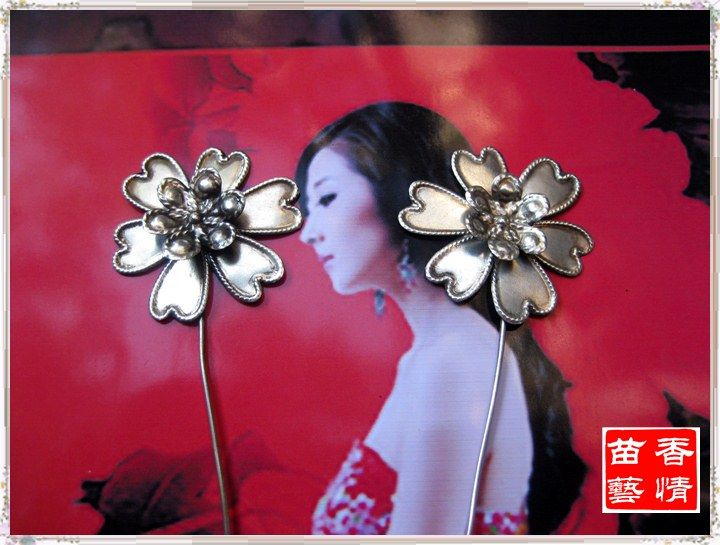 4 designs Pure Handmade Miao Silver TV Play Use Flower Hair Stick Hanfu Costume Hair Accessory Vintage Palace Use Hair Jewelry #Affiliate