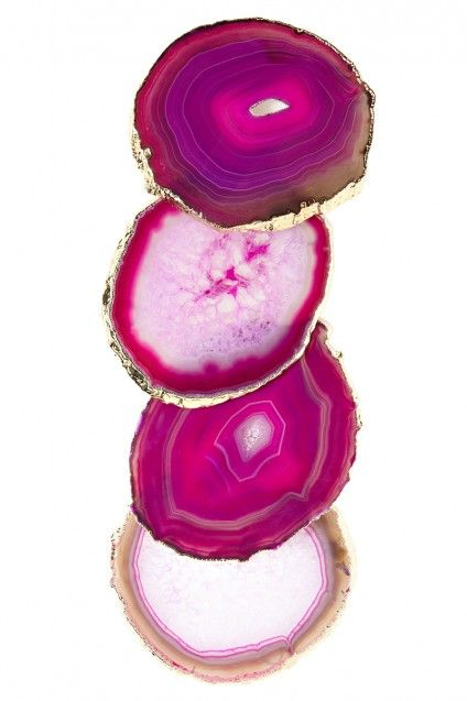 pink agate gold edged coasters : calypso st. barth