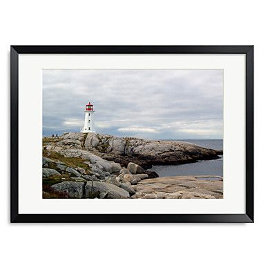 Framed+Art+Print+Landscape+Peggy's+Cove+Lighthouse+by+J.D.+McFarlan+–+CAD+$+67.13