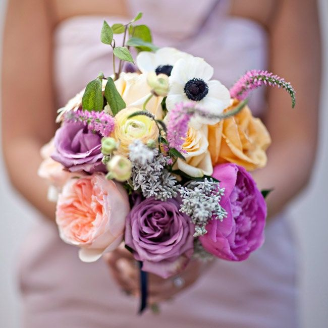 Peach and Purple Bridesmaid Bouquet