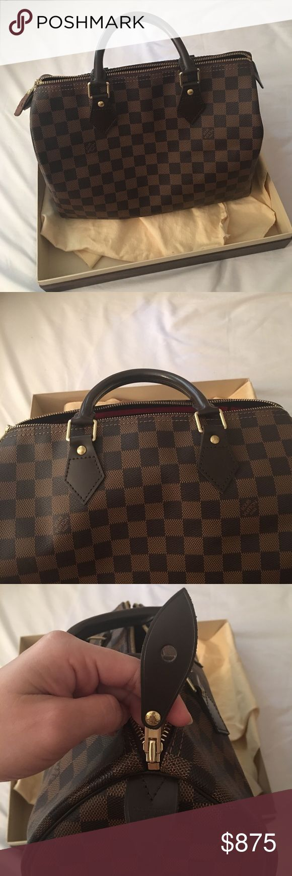 Louis Vuitton Speedy 30 Like new Louis Vuitton Damier Speedy 30. No tears or pulls. Piping is in very good condition. 1000% authentic. Comes with dustbag and box. Will go through Posh Concierge for authentication. This is a very pretty purse! Price is firm. I dont accept any offers. Posh takes 20% of the price. Louis Vuitton Bags Satchels