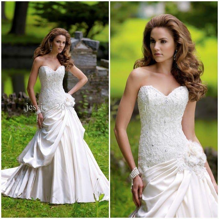 Fall Spring Garden A-Line Wedding Dresses | For more detail visit our page www.weddingyuki.com