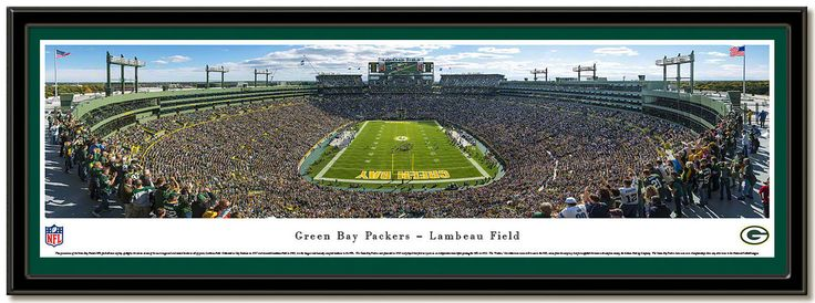 Green Bay Lambeau Field End Zone Panoramic framed poster.  This framed panorama spotlights the exciting action of the Green Bay Packers winning on their home turf at Lambeau Field. #ThePack  #StadiumPictures