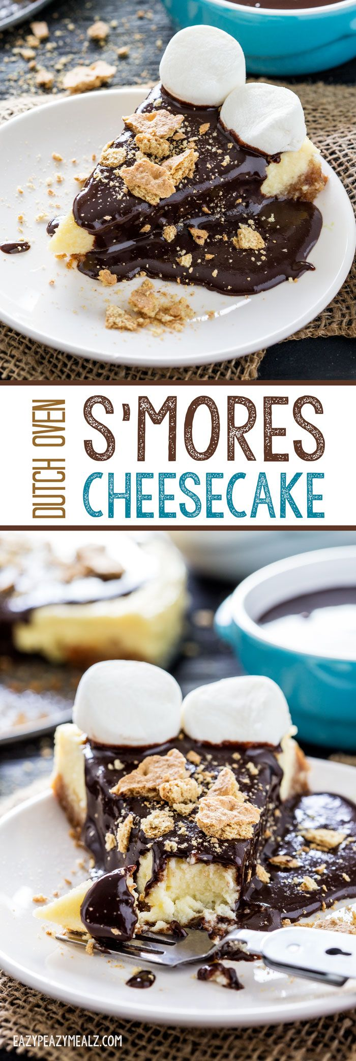 "Dutch Oven S'mores Cheesecake: this cheesecake can be made while camping using a dutch oven, springform pan, and charcoal. It is so flavorful, fluffy, and yummy, and fun for ""glamping"" #ad #Glamping #FallGlamping - Eazy Peazy Mealz"