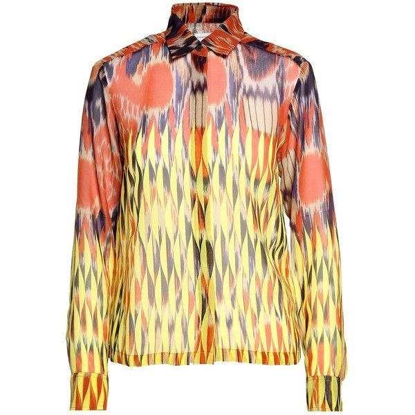 Dries Van Noten Cakung Printed Siljk-Chiffon Shirt (995 AUD) ❤ liked on Polyvore featuring tops, multicolor, multi color shirt, shirt top, long sleeve shirts, long sleeve tops and multi color tops