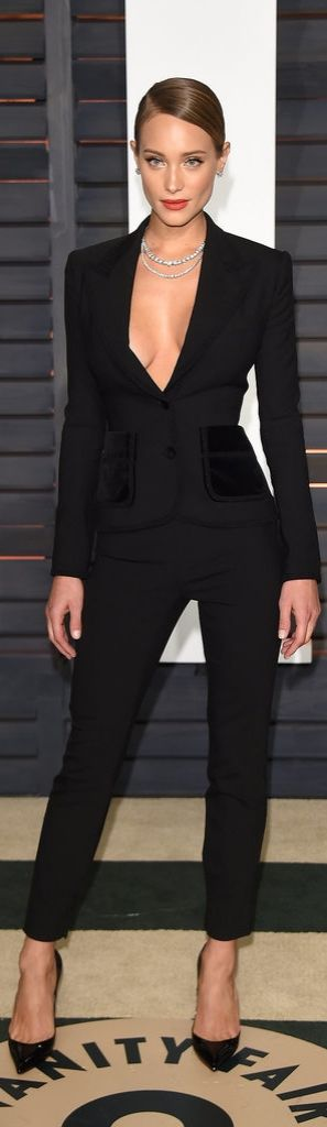 Hannah Davis proved that pants have a place on the red carpet, too. She completed her sleek, tailored Dolce & Gabbana suit with Forevermark diamonds and Christian Louboutin heels at the Vanity Fair Oscar Party.