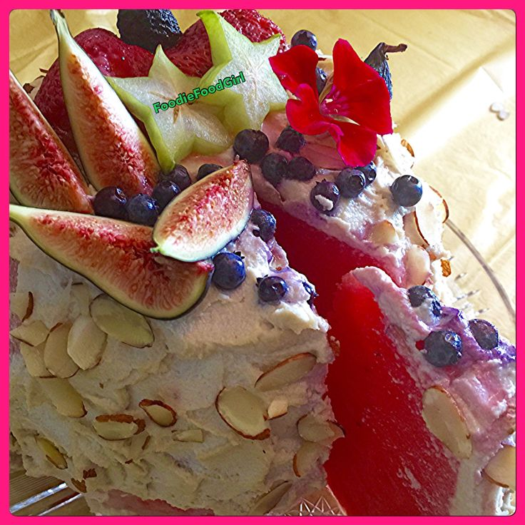 RAW Watermelon  Birthday  Cake  with Cashew Coconut Cream. Happy Birthday to me!  #rawcake #raw #watermelon #birthdaycake #cashewcream #coconut #plantbased #rawfood #rawdessert
