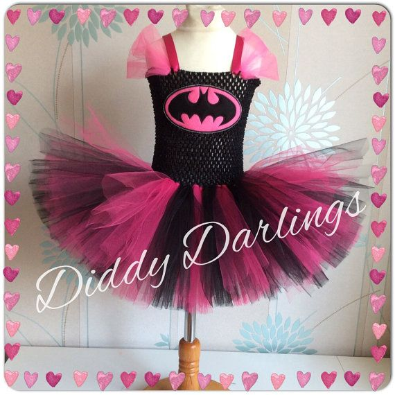 Batman Tutu Dress. Batgirl Tutu Dress. Inspired Handmade Dress. All Sizes Fully Customised. Black & Pink Tutu Dress. Superhero Costume
