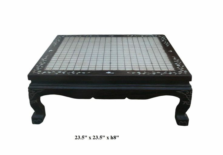 Chinese Rosewood Inlaid Marble Stone Top Go Chess Table cs409