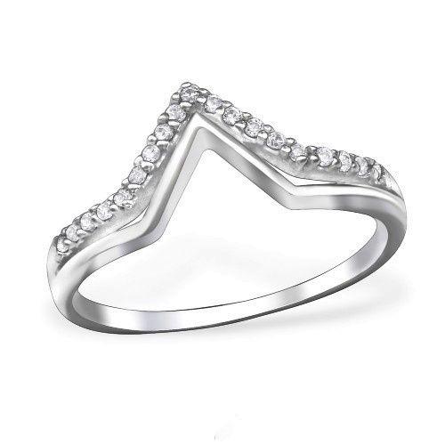 Zilveren Ring dubbele V met Zirkonia