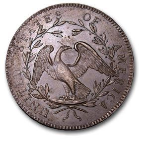 """""""In 1782: The Great Seal is adopted and the bald eagle becomes standard symbol of the United States. This copper dollar from 1794 carries the first depiction of an eagle on any U.S. national coin."""""""