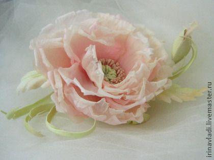 Цветы из шелка. Брошь заколка МАК ВАША СВЕТЛОСТЬ.Натуральный шелк. - цветы из ткани