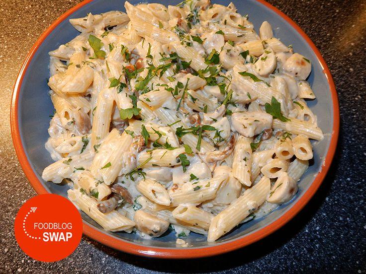Herfstpasta (met boursin cuisine, champignons en gemalen kaas)