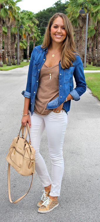 Chambray shirt worn open with camel tee