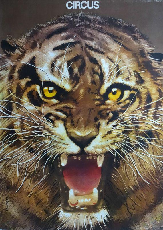 1982 Roaring Tiger by Waldemar Świerzy  by OutofCopenhagen on Etsy