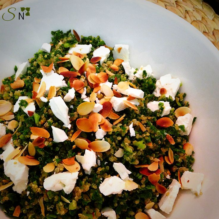 Kale and Quinoa Salad Kale is a real nutrient dense vegetable, in just one cup it has around 3g of protein and 2.5g of fiber. It also contains vitamin A, C, K and folate. Get this vegetable into your diet :) This salad is great as a side dish for dinner or even a tasty lunch. The great thing about adding kale to a salad is there is no need to cook it, keeping in more of your nutrients
