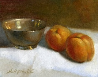 "Apricots with Silver Bowl 8""x10"" Oil on canvas by Hall Groat II"